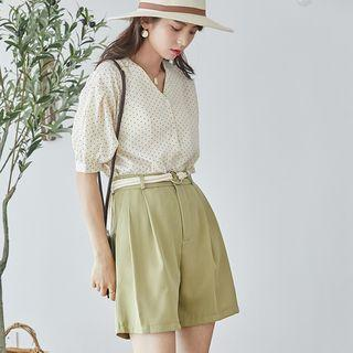 Set: Short-sleeve V-neck Dotted Chiffon Blouse + High-waist Wide-leg Shorts As Shown In Figure - One Size