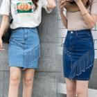 Fringed Hem Mini Denim Pencil Skirt