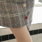 Button-front Asymmetric-hem Plaid Skirt