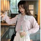 Lace Panel Furry Shirt