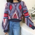 Color Block Lantern-sleeve Sweater