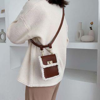 Croc Grain Furry Trim Crossbody Bag