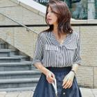 Elbow-sleeve Open-placket Stripe Shirt