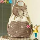 Bow-accent Printed Canvas Backpack