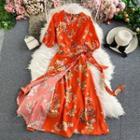V-neck Chiffon Flower Printed Dress
