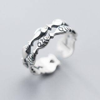 Layered Fish Open Ring Silver - One Size