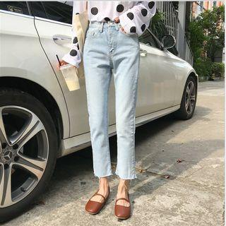 High-waist Slim Fit Ripped Cropped Jeans
