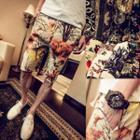 Drawstring Printed Beach Shorts