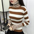 Turtleneck Striped Knit Pullover