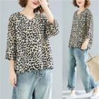 Leopard 3/4-sleeve T-shirt As Shown In Figure - One Size