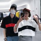Couple Matching Elbow-sleeve Color Block Top