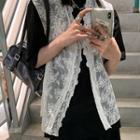 Lace Button-up Vest White - One Size