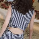 Cut Out Back Striped Sleeveless Wide Leg Jumpsuit