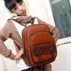 Faux-leather Contrast-trim Backpack