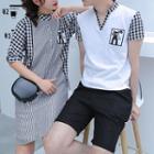Couple Matching Gingham Panel Short-sleeve Shirt Dress / T-shirt