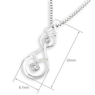 18k White Gold Double Drop Two Stones Pendant (free 925 Silver Box Chain)
