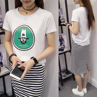 Set: Printed Short Sleeve T-shirt + Striped Midi Skirt