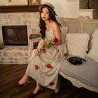 Rose Printed Sleeveless Dress