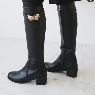 Faux-leather Buckled Long Boots