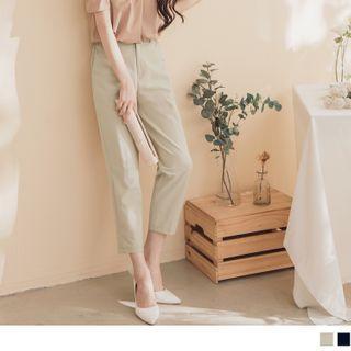 High-waist Plain Straight-cut Cropped Pants
