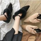 Furry Trim Pointed Flats