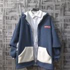Fleece Two-tone Hooded Zip Jacket