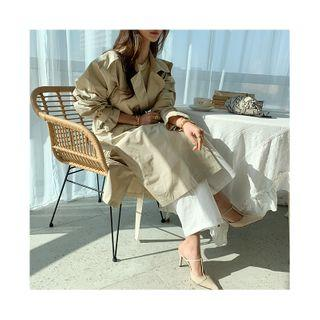 Snap-button Trench Coat & Sash Beige - One Size