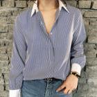 Contrast-collar Stripe Shirt