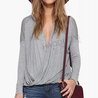 Long-sleeve Drapped Wrap Top