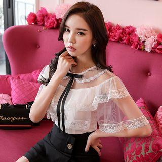 Elbow-sleeve Ruffled Lace Buttoned Top