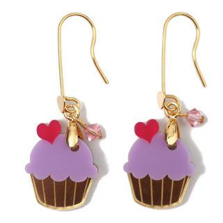 Sweet&co Mini Gold Purple Cupcake Crystal Earrings Gold - One Size