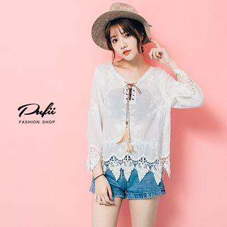 3/4-sleeve Lace Trim Top