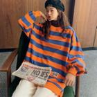Balloon-sleeve Striped Pullover