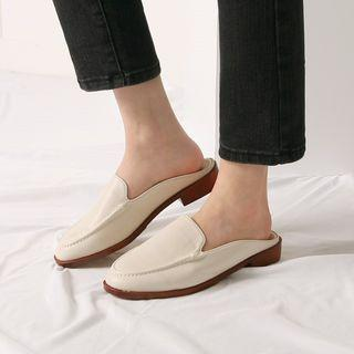 Oval-toe Backless Loafers