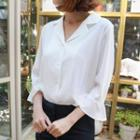 3/4-sleeve Notched-lapel Blouse