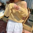Long-sleeve Cutout Plain Knit Top Yellow - One Size