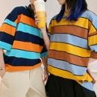 Couple Matching 3/4-sleeve Color Block Striped T-shirt