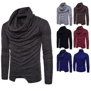 Long-sleeve Cowl-neck Knit Top
