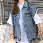 Distressed Loose-fit Denim Vest Blue - One Size