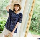 Mesh Sleeve Panel Star Striped Top