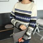 Drop-shoulder Patterned Wool Blend Knit Top