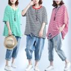 Elbow-sleeve Striped Ripped Oversized T-shirt