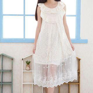 Sleeveless Lace Ruffled Dress