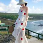 Heart Applique One-shoulder Tiered Midi Dress
