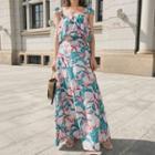 Set: Floral Print Off-shoulder Top + Maxi Skirt