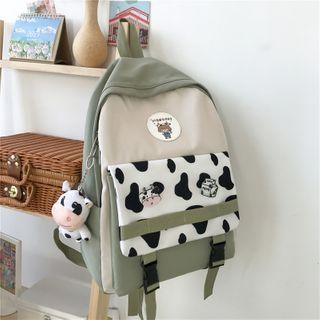 Color Block Cow Print Panel Backpack