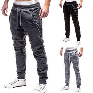 Zip Pocket Drawstring Baggy Pants