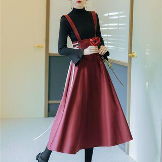 Set: Mock-turtleneck Bell-sleeve Rib Knit Top + Midi Jumper Skirt