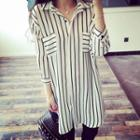 Pinstripe Chiffon Shirtdress