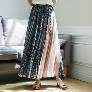 Patterned Maxi A-line Chiffon Skirt As Shown In Figure - One Size
